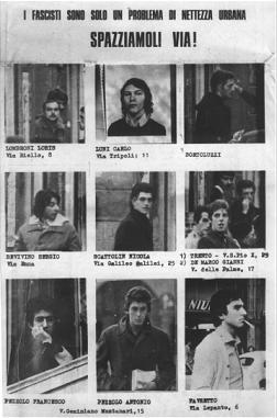 Años de Plomo: Carteles denunciando a los estudiantes Fascistas